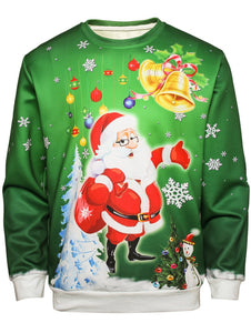 Bell Father Christmas Printing Pullover Sweatshirt for Men 8415