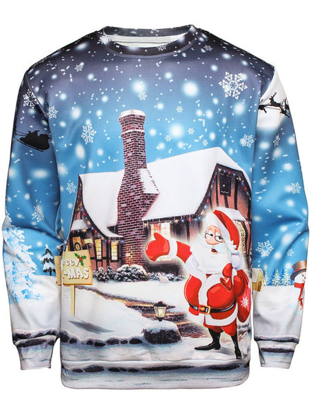 Snowflake Christmas Santa House Print Man Long Sleeve Sweatshirt 3489