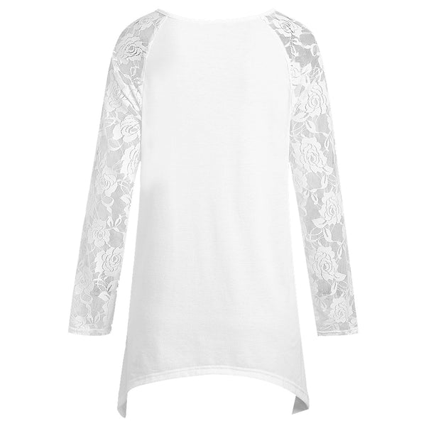 Christmas Elk Printing Lace Women Long Sleeved Tee 2591