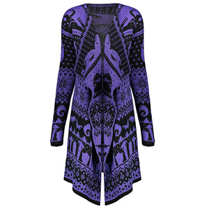 Skull Printed Woman Sweater Cardigan 5383