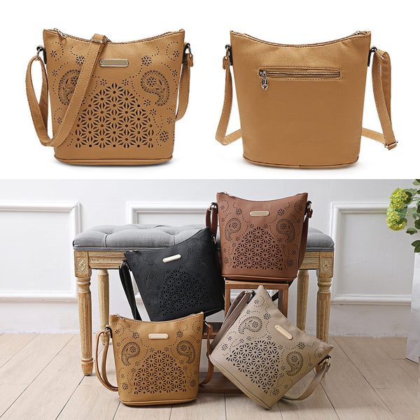 Pu Leather Hollow Out Bucket Crossbody Bags for Women 3008