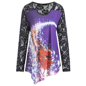 Long Lace Raglan Sleeve Christmas Santa Claus Printed Women T-shirt 9940
