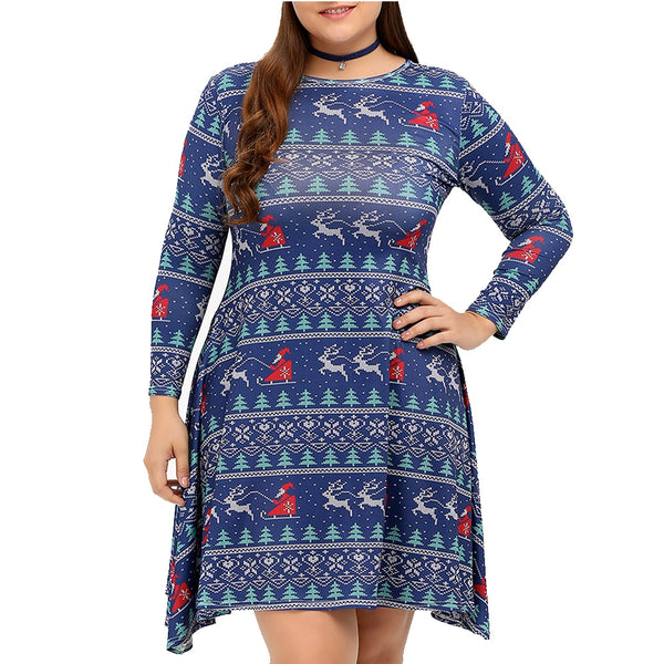 Printed Oversize 3/4 Sleeve Swing Dress for Christmas Party 4187