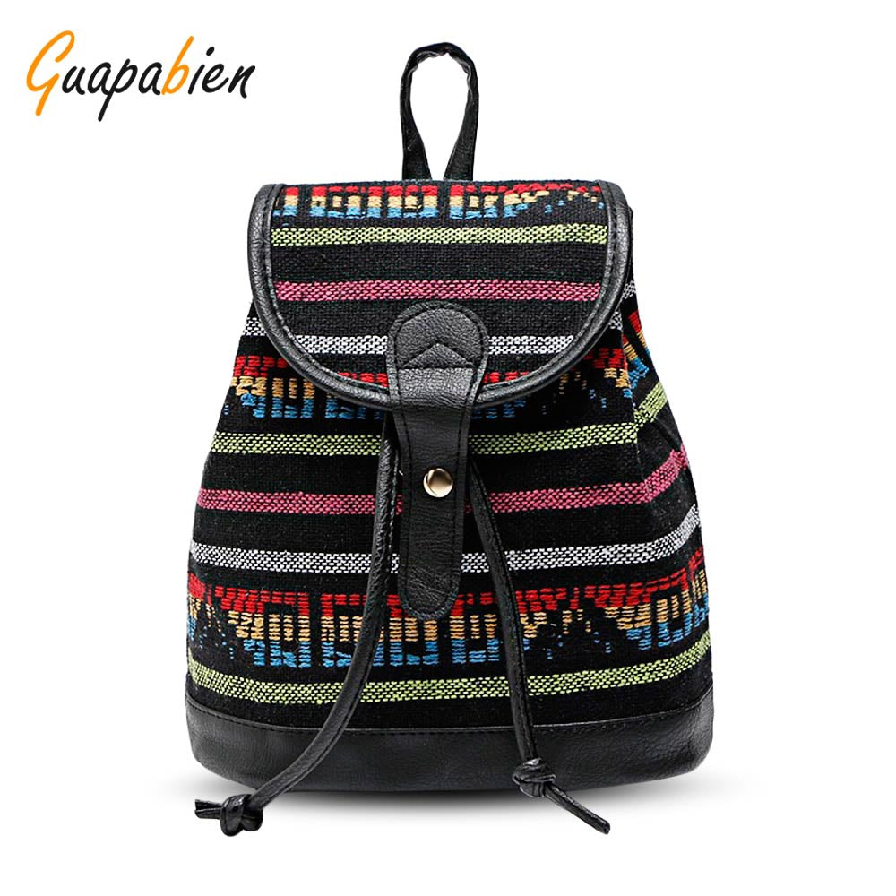 Color Blocking Ethnic Style Printing Canvas Backpack for Women 1617