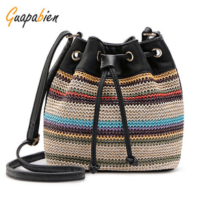 Casual Striped Printing Bucket Crossbody Bags for Women 7704