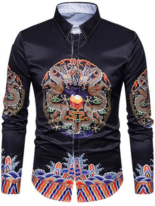 Turndown Collar Symmetrical Chinoiserie Dragon Print Shirt 6447