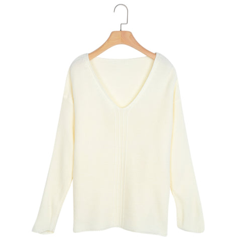 V Neck Long Sleeve Knitted Women Tops 5631