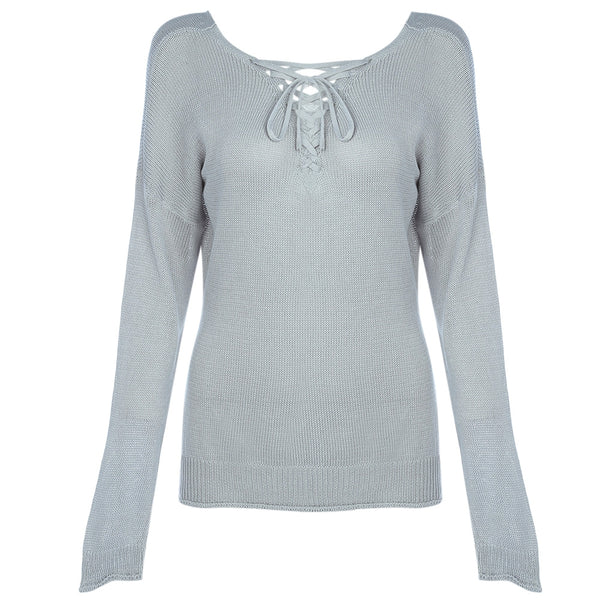 Long Sleeve V Neck Straps Women Knitted Pullover 7021