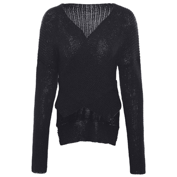 Plunging Neck Drop Shoulder Sweater Woman 1356