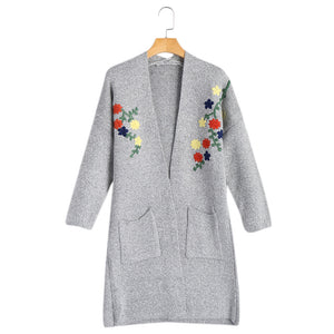 Flower Printed Open Front Women Sweater Cardigan 8538