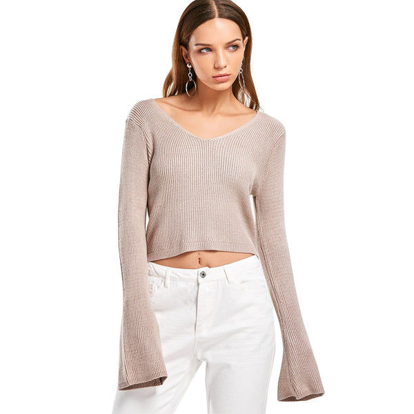 Flare Sleeve Short Pullover Sweater for Women 3997
