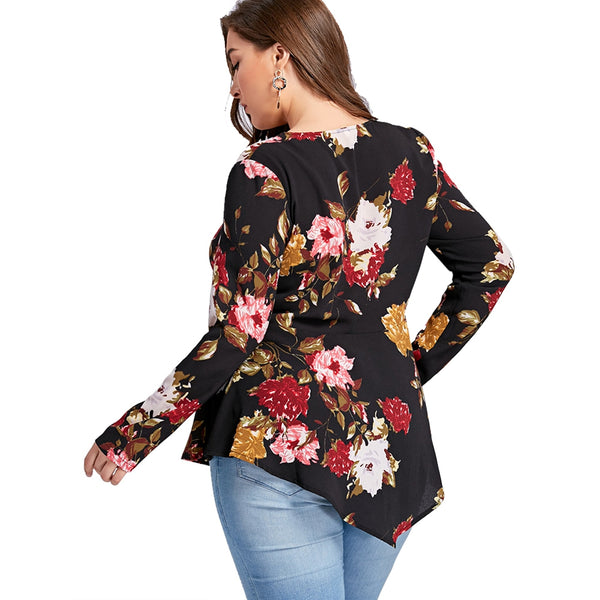 Zipper V Neck Floral Printing Long Sleeve Women Blouse 5302