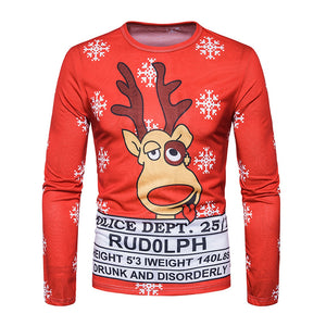 Crew Neck 3D Reindeer Graphic Print Christmas T-shirt 2576