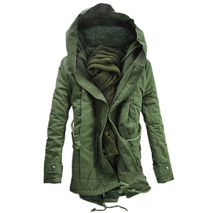 Hooded Double Zip Up Padded Parka Coat 9226