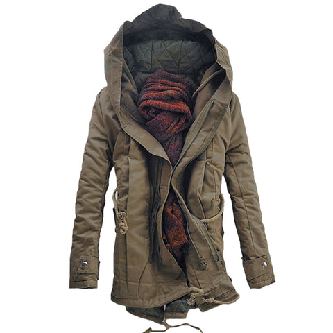 Men's Hooded Double Zip Up Padded Parka Warm Coat