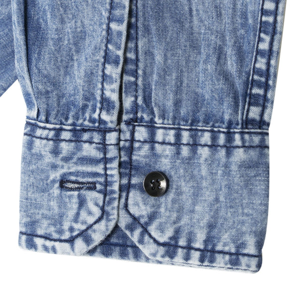 Turndown Collar Pocket Bleached Effect Chambray Shirt 3620