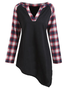 Plus Size Plaid Raglan Sleeve V Neck Asymmetric T-shirt 8868