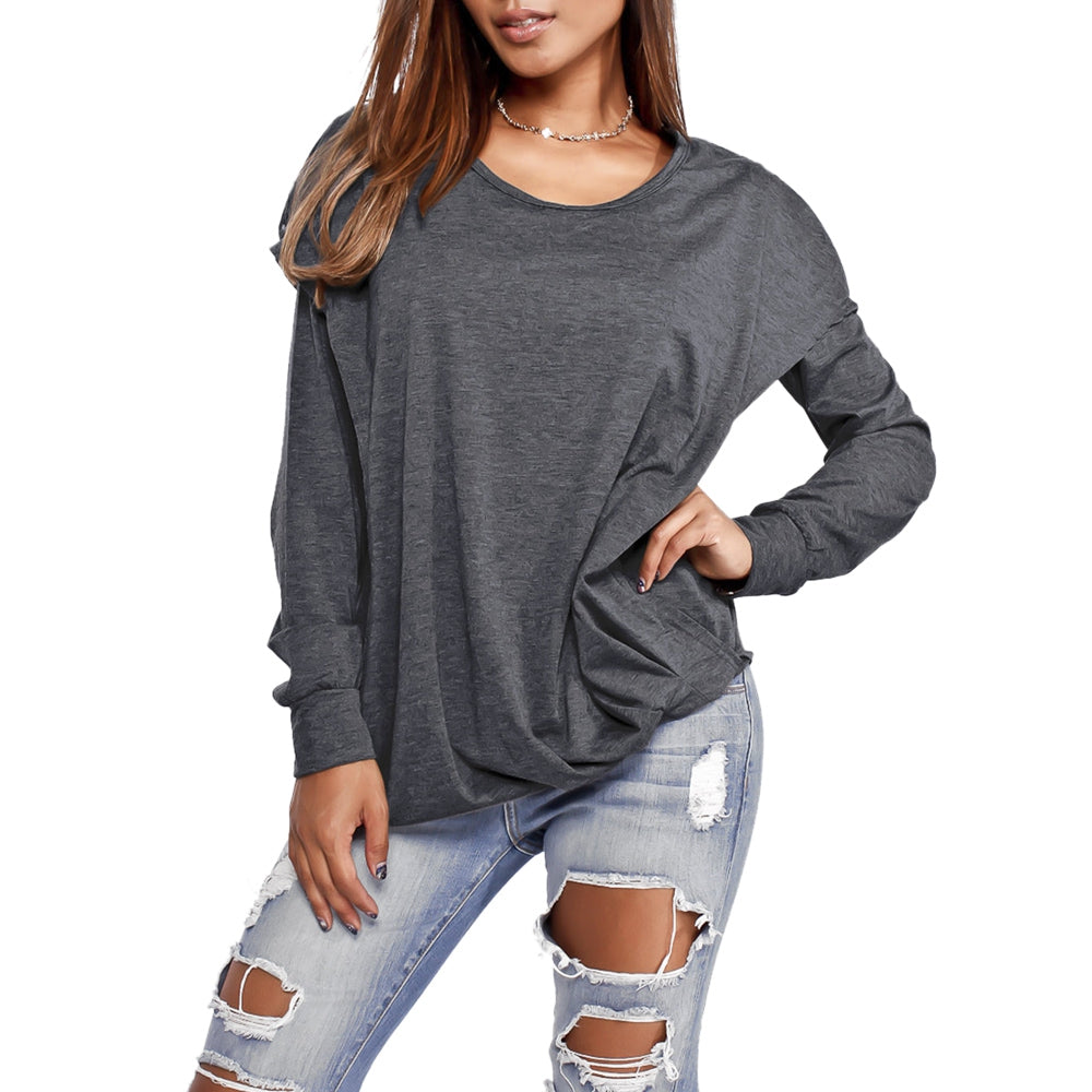 Faux Two Piece Long Sleeve Hooded Top 2633