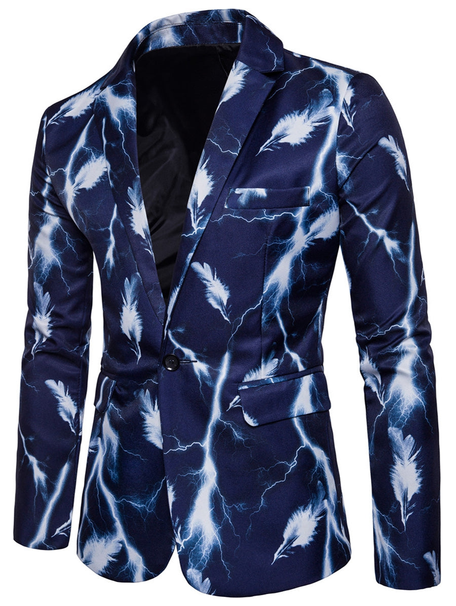 Lapel One Button Lightning Feather Print Blazer 4153