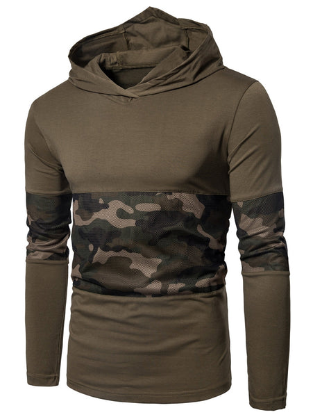 Hooded Mesh Camouflage Panel T-shirt 1519
