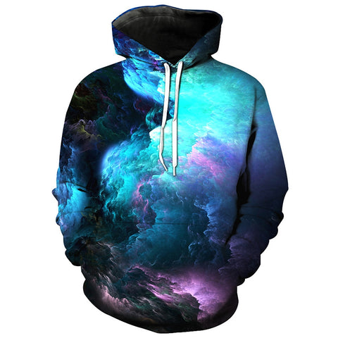 3D Colorful Clouds Print Pullover Hoodie 7944