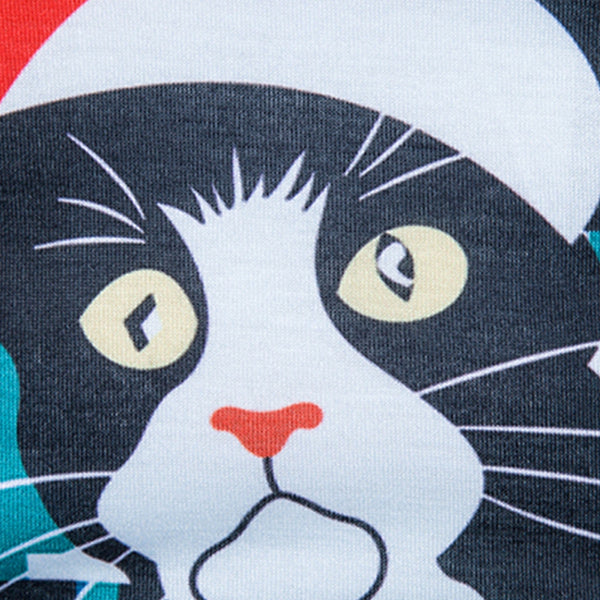 Crew Neck 3D Cat Geometric Print Christmas T-shirt 2790