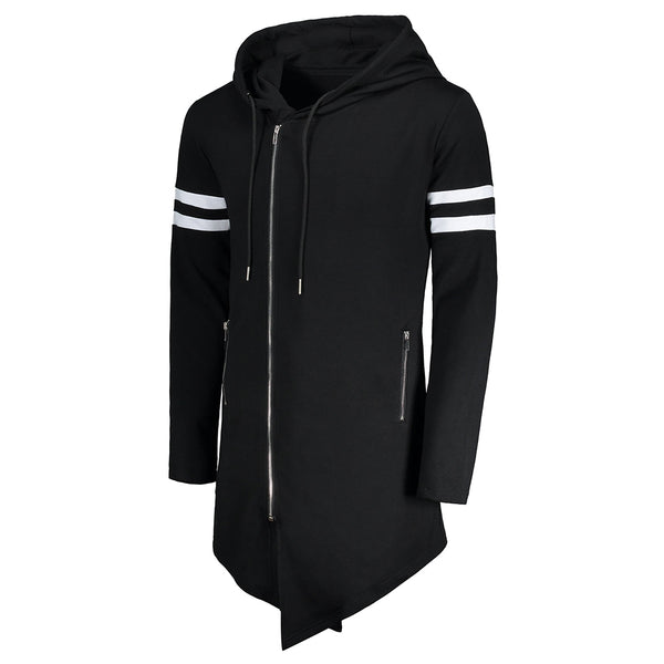Varsity Stripe Zip Up Long Asymmetrical Hoodie 3840