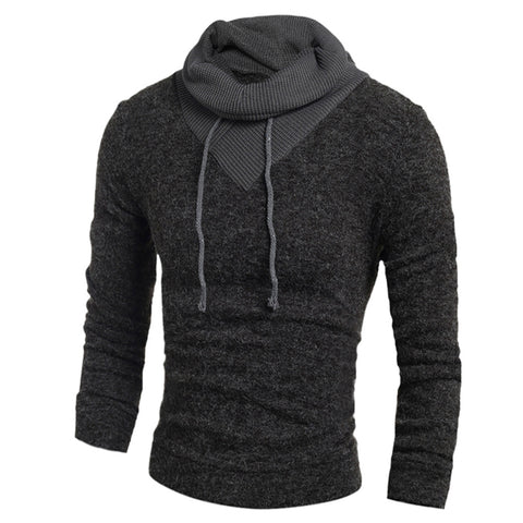 Men's Personality Drawstring Spliced Long Sleeves Turtleneck Color Block Slimming Thicken Sweater