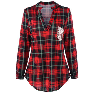 Sequined Trim Plaid Curved Shirt 2488