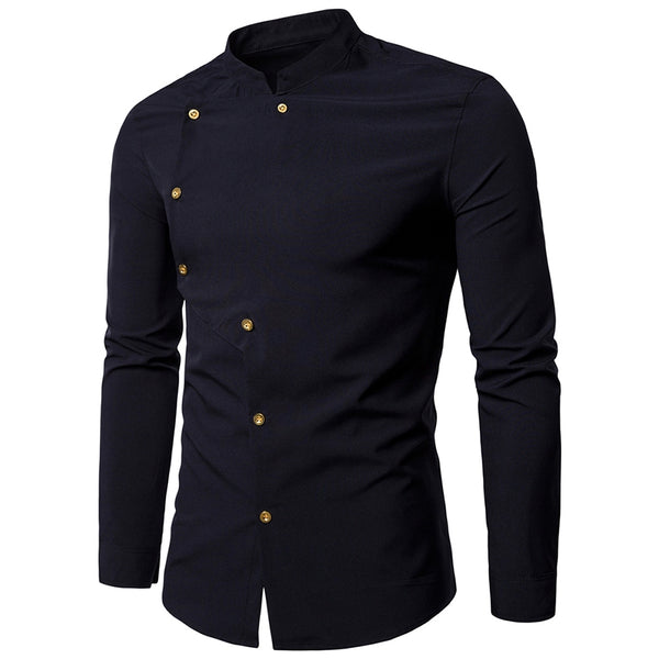 Asymmetrical Button Up Mandarin Collar Shirt 1829