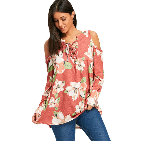 Cold Shoulder Lace Up Floral Tunic Top 4782