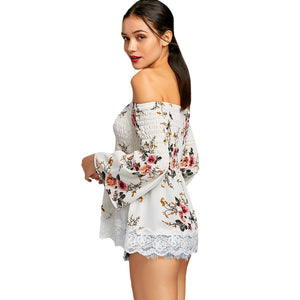 Floral Print Off The Shoulder Tunic Blouse 2838