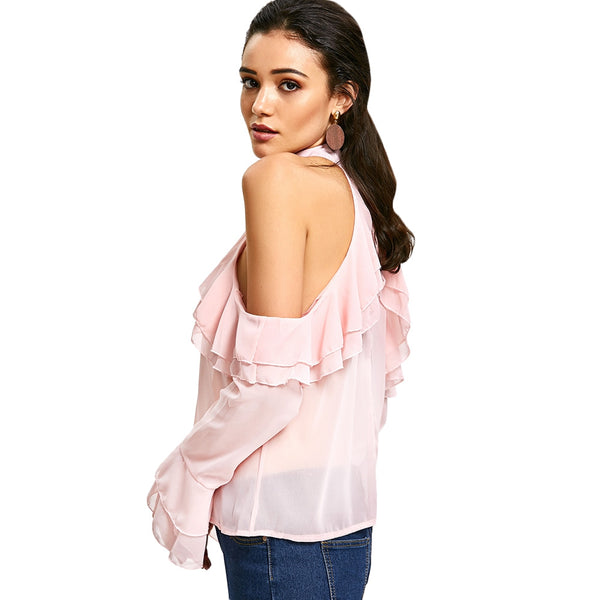 Ruffle Layered Cold Shoulder Blouse 6029