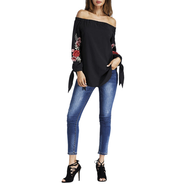 Off The Shoulder Floral Embroidered Tunic Blouse 3963
