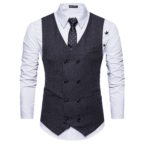 Men's V Neck Double Breasted Belt Design Waistcoat
