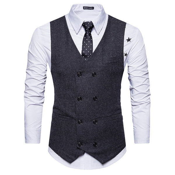 V Neck Double Breasted Belt Design Waistcoat 1389