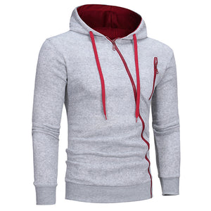 Men's Oblique Zippers Solid Color Block Fleece Hoodie