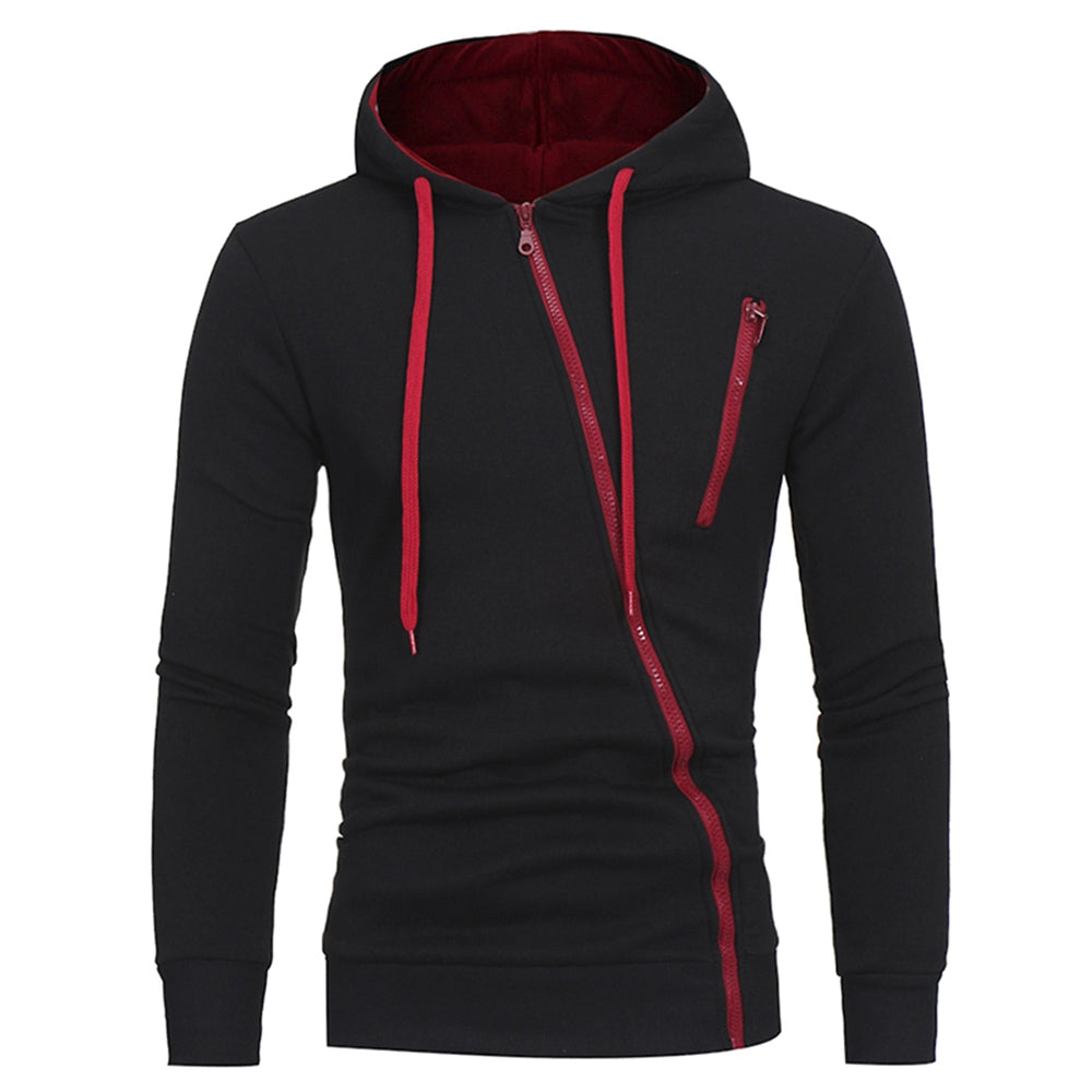 Oblique Zippers Color Block Fleece Hoodie 9225