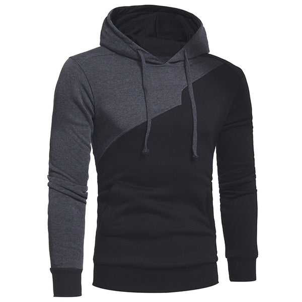 Drawstring Irregular Panel Fleece Hoodie 4271