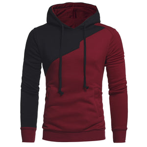 Men's Irregular Panel Fleece Drawstring Hoodie