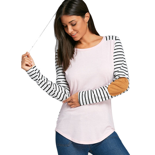 Striped Elbow Patch Long Sleeve Top 1538