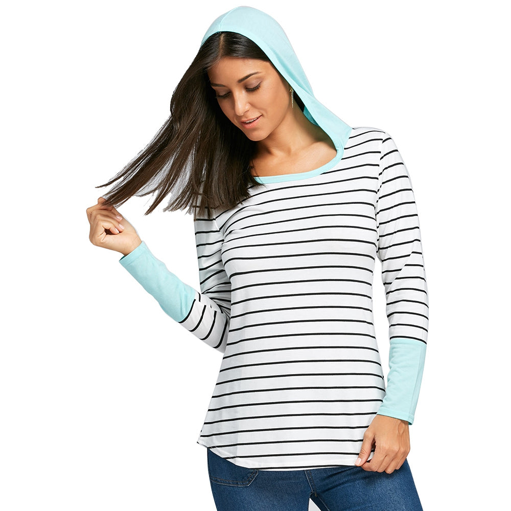 Striped Long Sleeve Hooded Top 1936