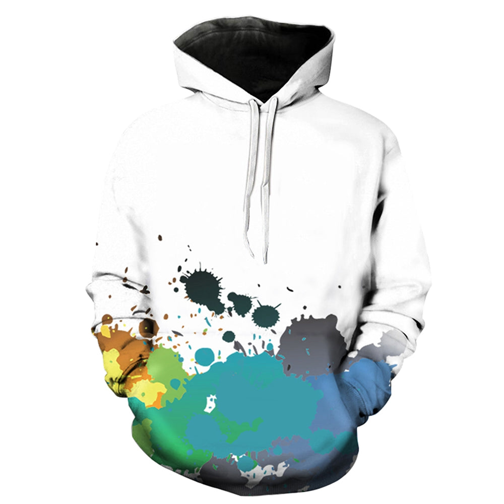 Hooded 3D Colorful Paint Splatter Print Pullover Hoodie 8053