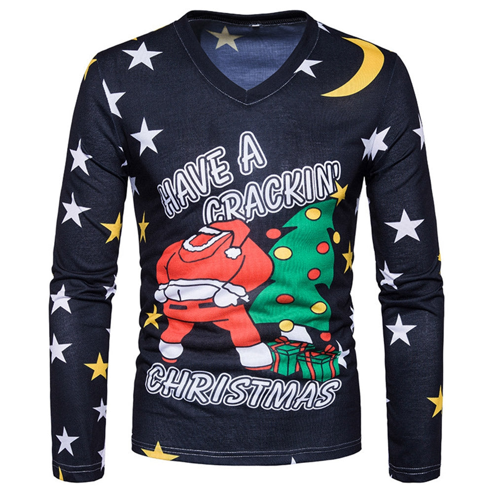 V Neck Christmas Santa Star Print Ugly T-shirt 3271