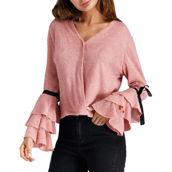 Layered Bell Sleeve V Neck Sweater 9113