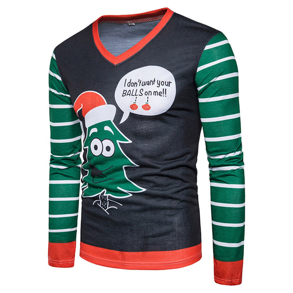 V Neck Christmas Cartoon Stripe Print Ugly T-shirt 4514