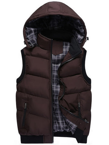 Men's Zip Up Detachable Hooded Padded Vest