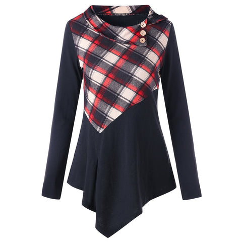 Plaid Panel Irregular Long Sleeve T-shirt 5503
