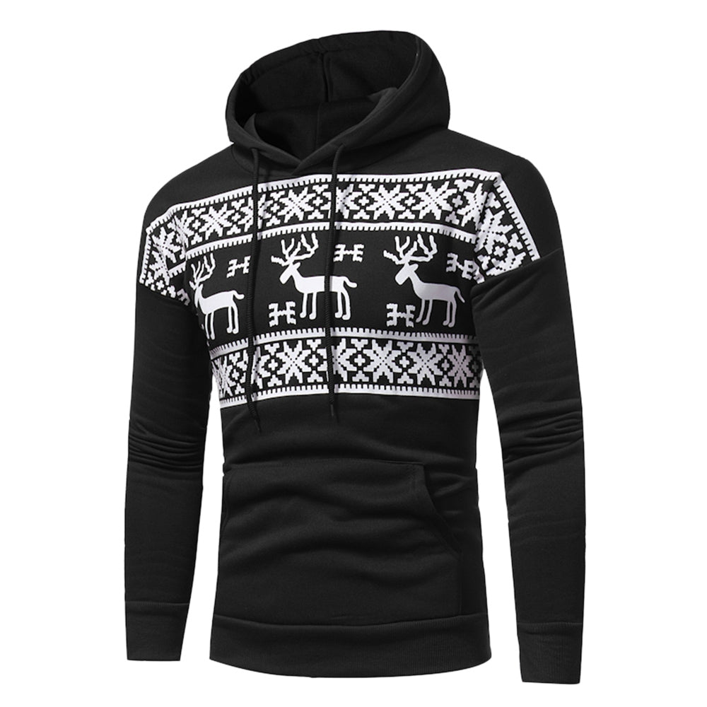 Hooded Snow and Reindeer Print Fleece Hoodie 6931