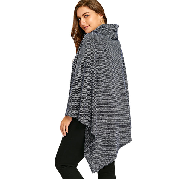Plus Size Cowl Neck Asymmetric Poncho Top 1390